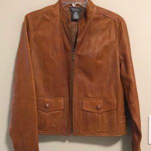 George 100% Leather Jacket SZ L Zip up Like New!